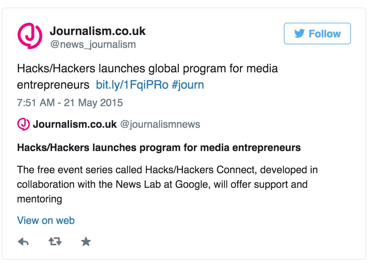 Journalism.co.uk tweet