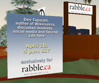 rabble / Don Tapscott announcement in Second Life